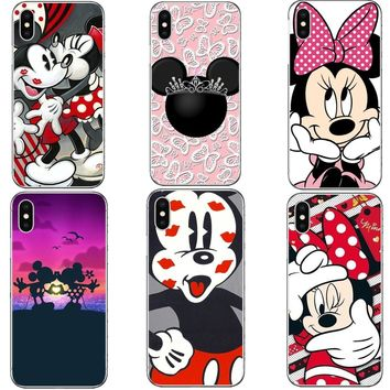 Mickey Minnie Kiss Mickey Mouse Women princess Hard PC Phone Cases Cover For iPhone 7 7Plus 8 8 Plus 6 6SPlus 5 5S SE X