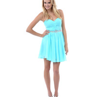 2014 Prom Dresses - Mint Gathered Rhinestone Sweetheart Strapless Short Dress - Unique Vintage - Prom dresses, retro dresses, retro swimsuits.
