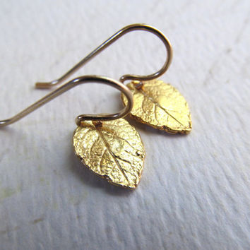 Tiny Leaf Earrings - 24K GOLD Vermeil Earrings . Everyday Dainty Modern Jewelry