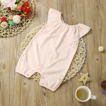 Baby Girls Romper Jumpsuit Outfits Baby girls romper clothes Hollow lace solid color Pink jersey Clothes Summer Romper
