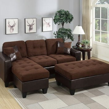 Poundex F6928 2 pc daryl collection 2 tone chocolate microfiber fabric upholstered reversible sectional sofa set with chaise and ottoman