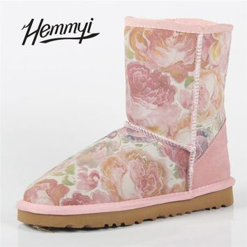 Hemmyi rose snow boots for women mid-calf cow genuine Leather winter warm waterproof female boots high quality brand women shoes
