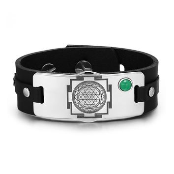 Sri Yantra Chakra Magical Energy Amulet Green Quartz Gemstone Adjustable Leather Bracelet