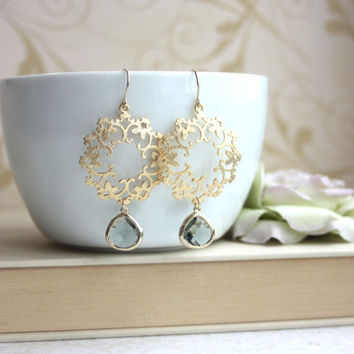 Gold Ivory Pearl Moroccan, Boho, Gypsy Filigree, Chandelier Ivory Pearl Wedding Earrings. Maid of Honor. Bridesmaids Gifts. Bridal Jewelry.