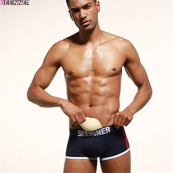 Brand Mens Underwear Boxers Trunks Sexy Push Up Cup Bulge Enhancing Gay Underwear Men Boxer Shorts Enlarge Underpants