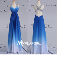 Ombre Blue Sweetheart Chiffon Prom Dress With Cross Straps Open Back