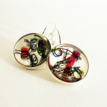 Silver Colored Earrings with Beads Coated in Crystal Clear Resin