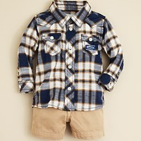 Diesel Infant Boys' Plaid Shirt & Gabardine Shorts - Sizes 6-24 Months