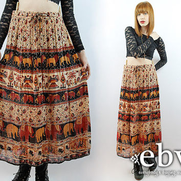 Vintage 90s Maxi Skirt 2X 3X Festival Skirt Hippie Skirt Hippy Skirt Boho Skirt Indian Skirt India Skirt Plus Size Skirt Plus Size Vintage