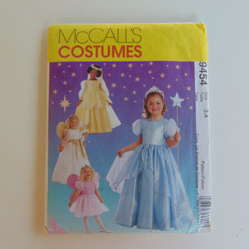 McCall's 9454 Costumes Child size 3 and 4 Princess Gowns and Angel Costumes Craft Clothes Sewing Pattern