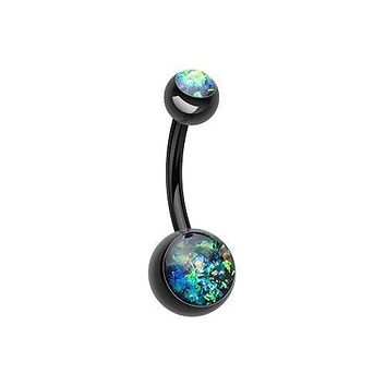 Opal Glitter Shower 316L Surgical Steel Belly Button Ring