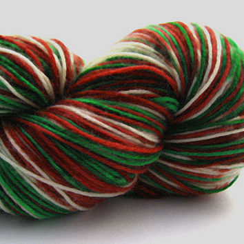 Ribbon Candy Stripes- FOR CHILD SOCKS - Hand Painted - Sock Yarn - Freckled Yarn - Christmas Yarn - Gift for knitter  - Jingle Bells