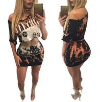 Nirvana Printed Lace-Up Crop Top and Mini Skirt