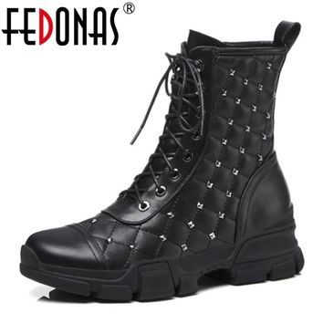 FEDONAS Punk Women Ankle Boots Autumn Winter Corss-tied Rivets Martin Shoes Woman Motorcycle Boots Platforms New Woman Shoes