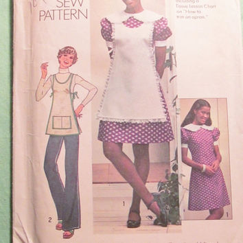 Sale Uncut 1970's Simplicity Sewing Pattern, 7039! Size 16 Bust 38 Large/Women's/Misses/Jr's/Teens/Short Thigh Length Dress/Aprons/Collared