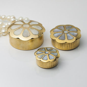 Set of 3 Jewelry Boxes: Vintage Brass & Mother of Pearl Inlaid Keepsake Boxes, Seashell Trinkets, Metal Flower Boxes, Christmas Gift Idea