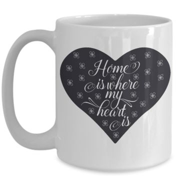 Black Coffee Mug for Men Home is Where My Heart Is