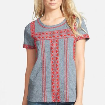 Women's Lucky Brand Embroidered Cotton Tee,