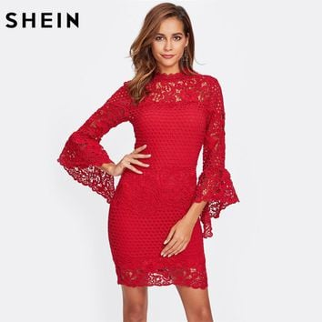 SHEIN Flare Sleeve Guipure Lace 2 In 1 Dress Red Bodycon Dress Women Three Quarter Length Sleeve Elegant Party Dress