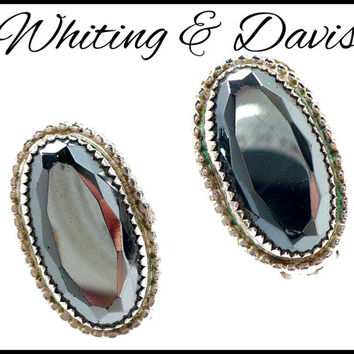 Whiting & Davis Hematite Earrings, Silver Clip On, Faceted Hematite, Bridesmaid Maid of Honor Flower Girl, Hostess Gift For Her