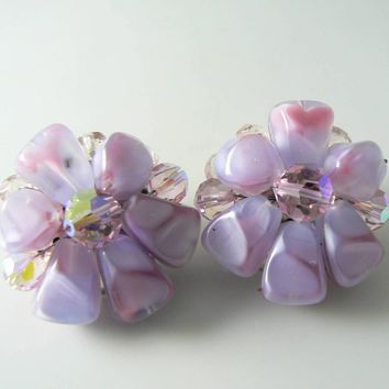 Vintage Murano Lavender Art Glass Flower Cluster Earrings