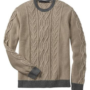 Gap Men Factory Contrast Cable Knit Sweater