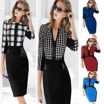 dresses Women workDress patchwork stretch tunic career vestidos business party pencil sheath
