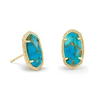 Ellie Stud Earrings In Bronze Veined Turquoise
