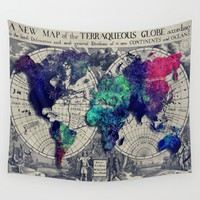 Map of the world  Wall Tapestry by Jbjart