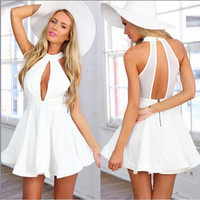 White Halter Keyhole Front and Back Skater Dress
