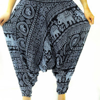 Funky Elephant hippie Bohemian Drop Crotch Pants Yoga Gypsy Harem Wide Legged Pants boho dance pants arabic