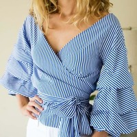 Puff Ruffle Sleeve Wrap Top