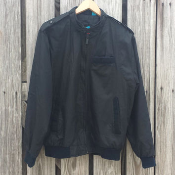 Vintage 1980s SASSON Member's Only Style Black Cafe Racer Jacket - SZ S/M Chest 44""