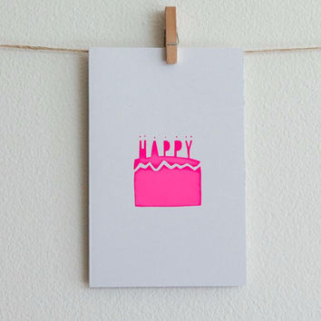 Greeting Card | Birthday Cake - Neon Pink On White