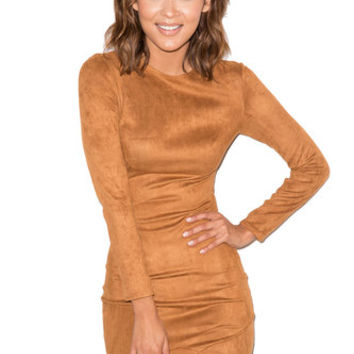 'Gunsmoke' Tan Suedette Asymmetric Dress - Mistress Rocks
