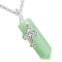 Amulet Crystal Point Wand Holy Cross Charm Green Quartz Pendant 22 Inch Necklace