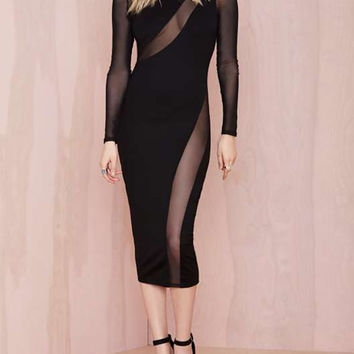 Mesh Panel Extended Midi Bodycon Dress