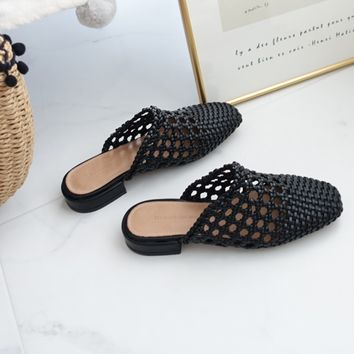 2018 Women Ines Mule Slide Shoes Slipper Sandals Net Fashion Flat Marti