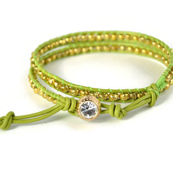 Green and Gold Wrap Bracelet, Green Wrap Bracelet, Gold Leather Wrap, Double Wrap, Green and Gold Bracelet