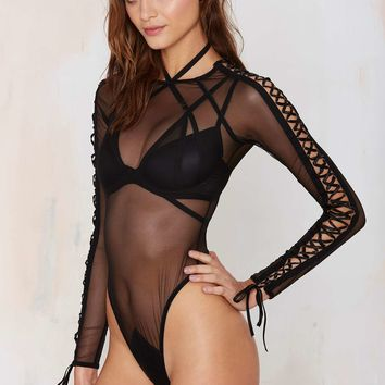 Widow Fools Fall in Love Mesh Bodysuit
