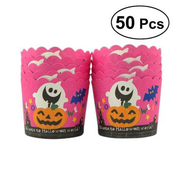 50 Pcs Halloween Pumpkin Ghost Thicken Cupcake Liner Paper Baking Cups Cupcake Wrappers Disposable Muffin Cup Cake Paper Cup