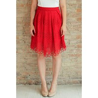 Hathaway Pleated Skirt - Red