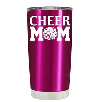 Cheer Mom Pom Pom on Translucent Pink 20 oz Tumbler Cup