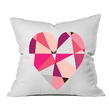 Geometric Heart Pillow 18x18 Inch Throw Pillow Cover - Couples Gifts For Her - Love Decor Girlfriend Gifts Birthday Present