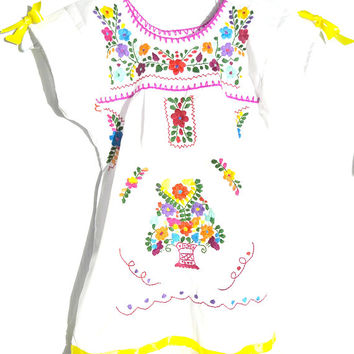 Bohemian flower girl Mexican dress romantic dress boho baby baptism  rustic  floral  infant  toddler folkloric  dresses girls mexico folk