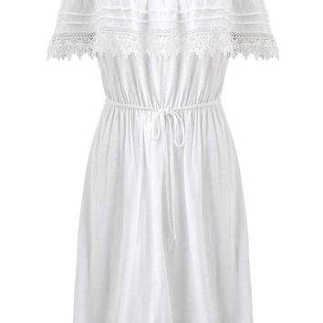 White Frill Bardot Dress - Miss Selfridge