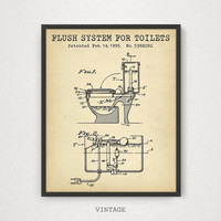 Bathroom Poster, Flush System For Toilets Patent Art Printable, Digital Download Blueprint Art, Toilet Art Print, Vintage Bathroom Invention