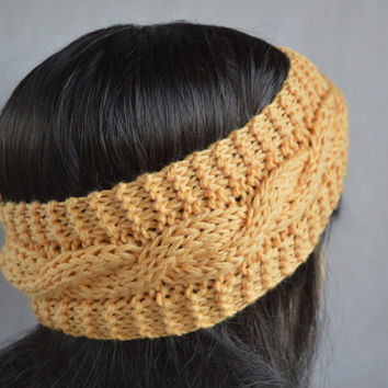 Yellow Headband, Yellow Hair Accessories, Hand Knit Cable Ear Warmer, Soft and Warm Headband, Wool and Acrylic Blend