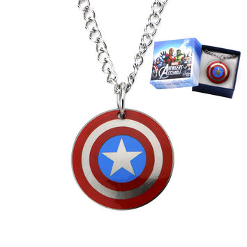 "Stainless Steel Captain America Logo Pendant on a 16"" Chain W/ Gift Box"