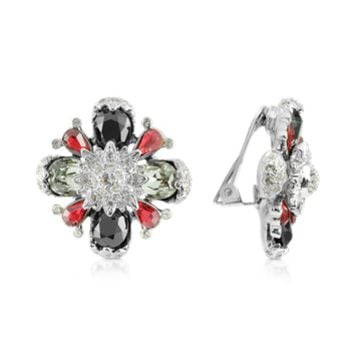 AZ Collection Designer Earrings Flower Clip-On Earrings